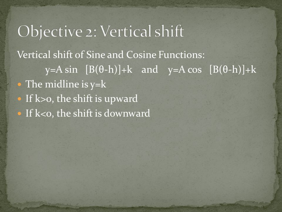 Objective 2: Vertical shift