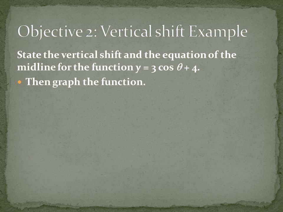Objective 2: Vertical shift Example