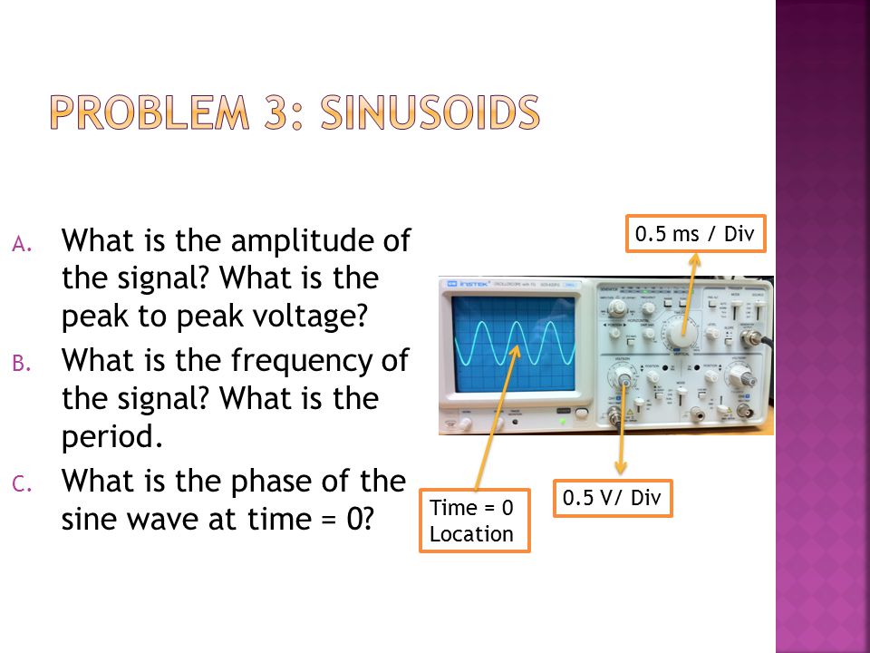 Problem 3: Sinusoids What is the amplitude of the signal What is the peak to peak voltage