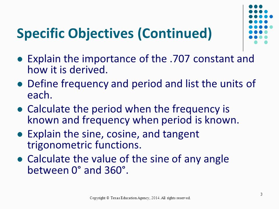 Specific Objectives (Continued)