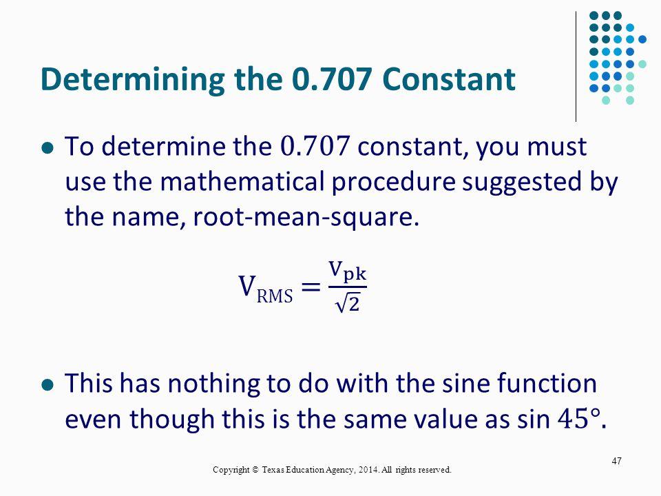 Determining the 0.707 Constant