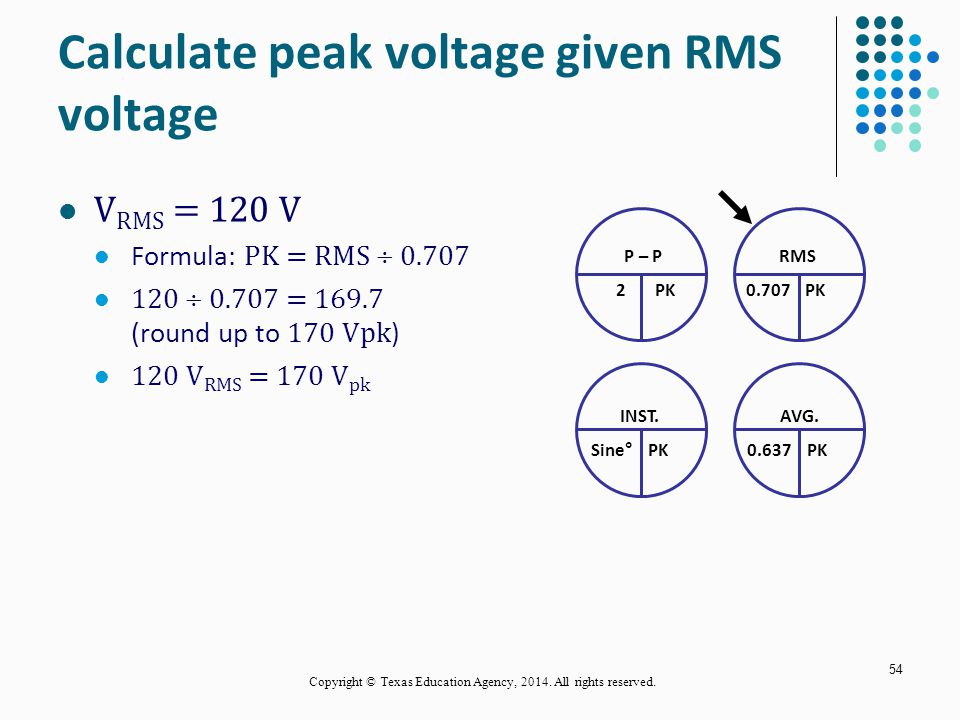 Calculate peak voltage given RMS voltage