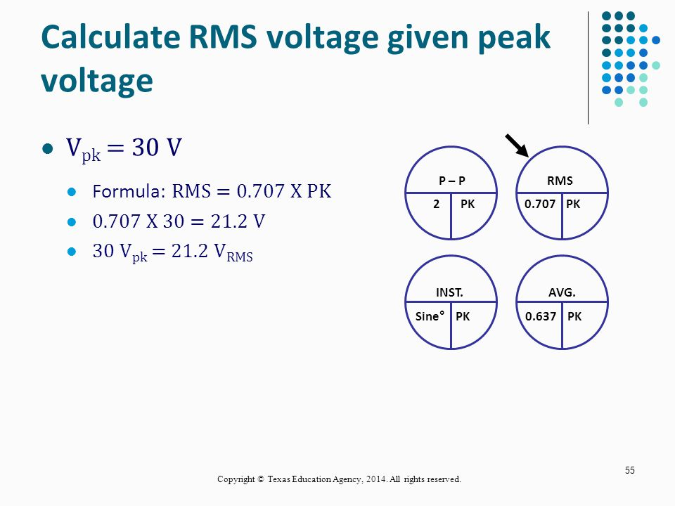Calculate RMS voltage given peak voltage