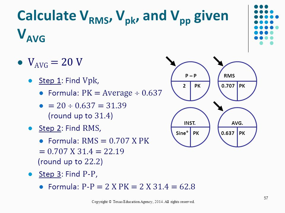 Calculate VRMS, Vpk, and Vpp given VAVG