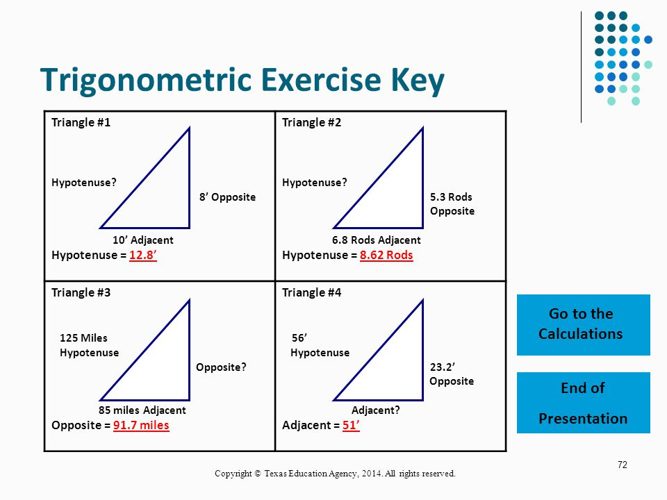 Trigonometric Exercise Key