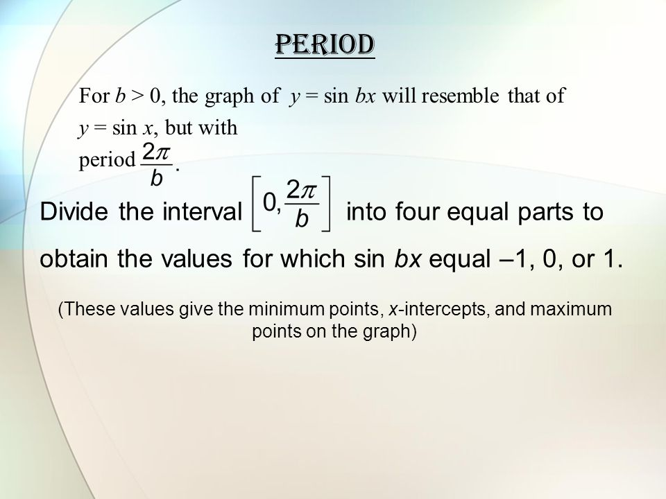 Period Divide the interval into four equal parts to