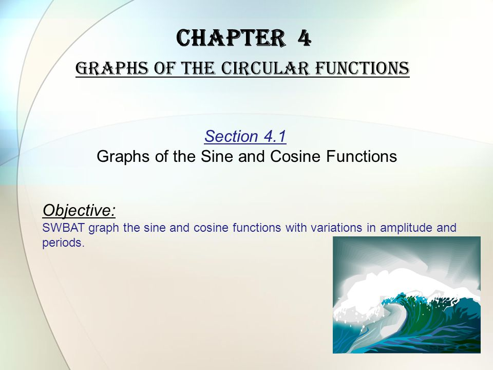Chapter 4 Graphs of the Circular Functions Section 4.1