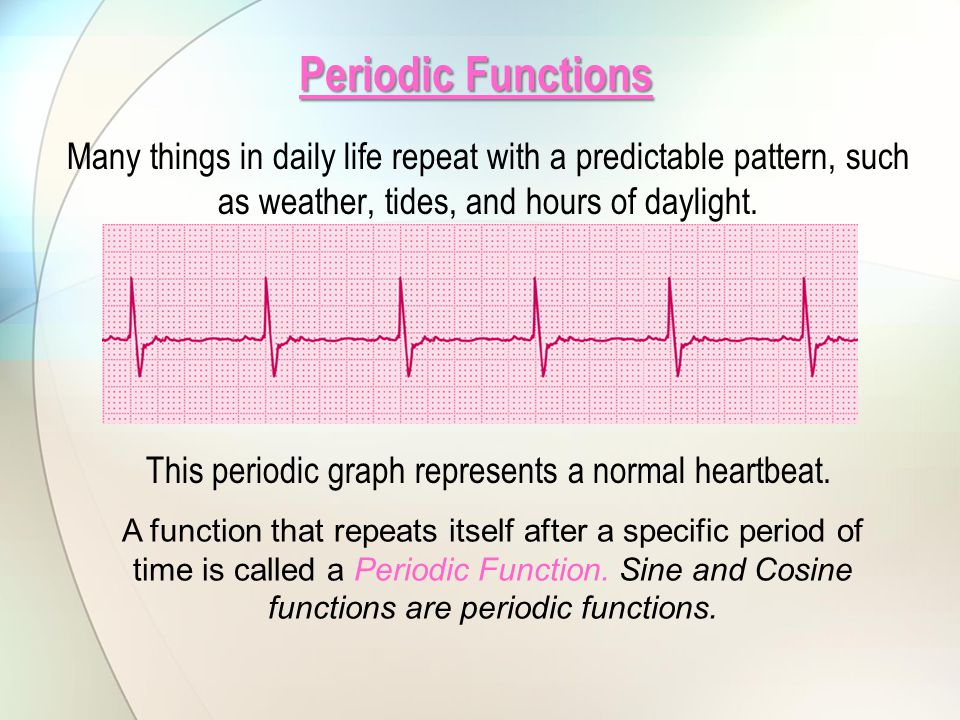 This periodic graph represents a normal heartbeat.