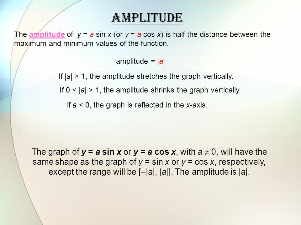 Amplitude The amplitude of y = a sin x (or y = a cos x) is half the distance between the maximum and minimum values of the function.
