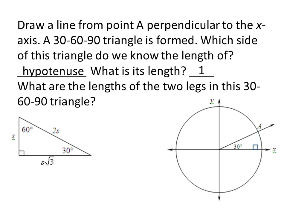 Draw a line from point A perpendicular to the x-axis