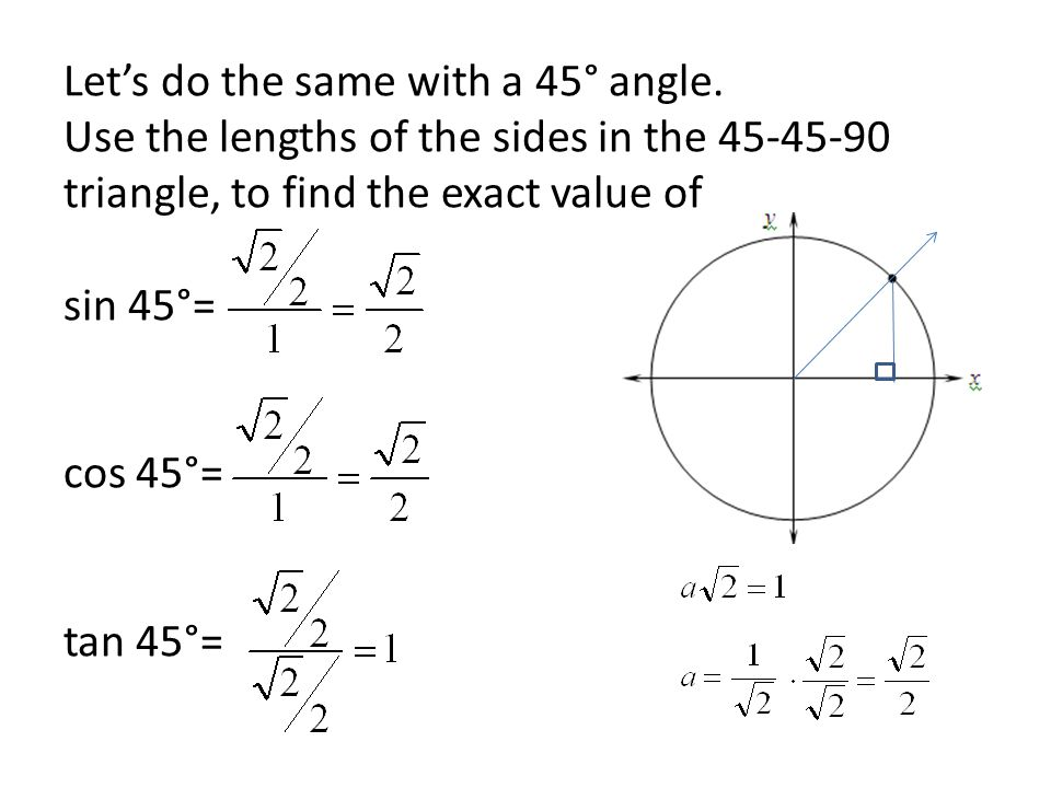 Let's do the same with a 45° angle