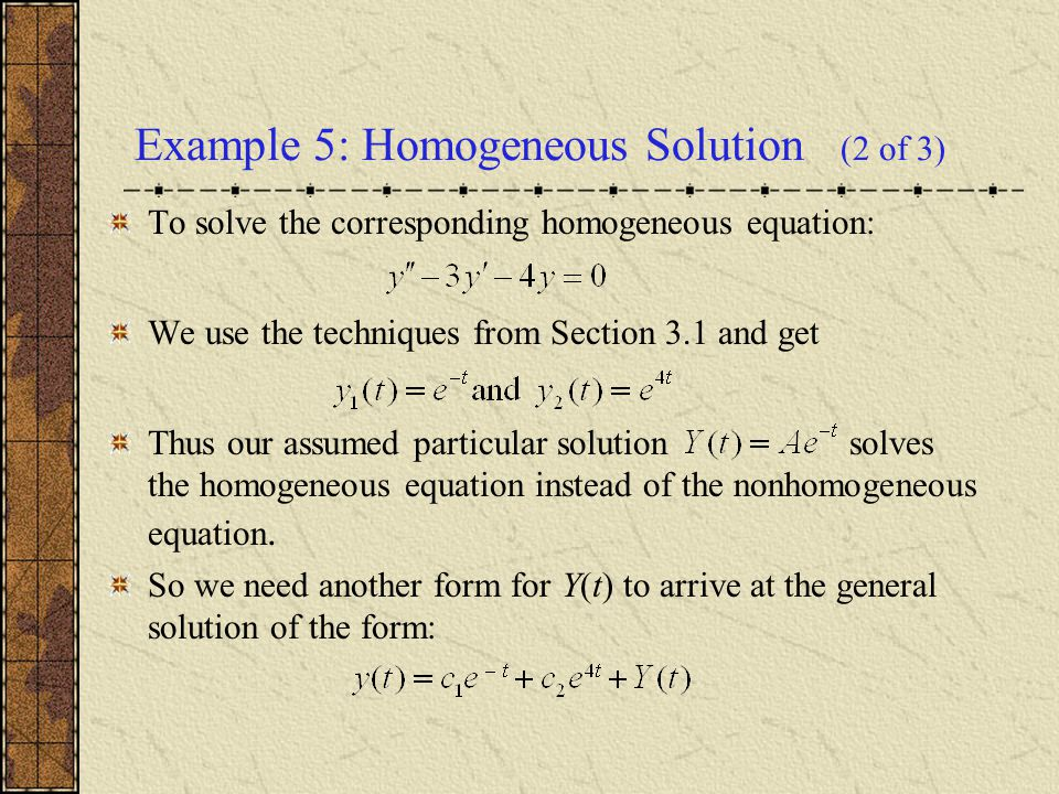 Example 5: Homogeneous Solution (2 of 3)