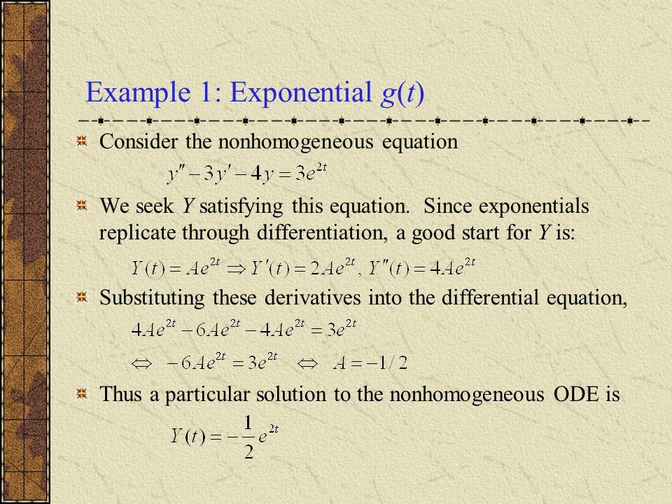 Example 1: Exponential g(t)
