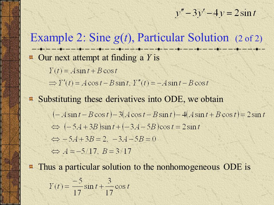 Example 2: Sine g(t), Particular Solution (2 of 2)