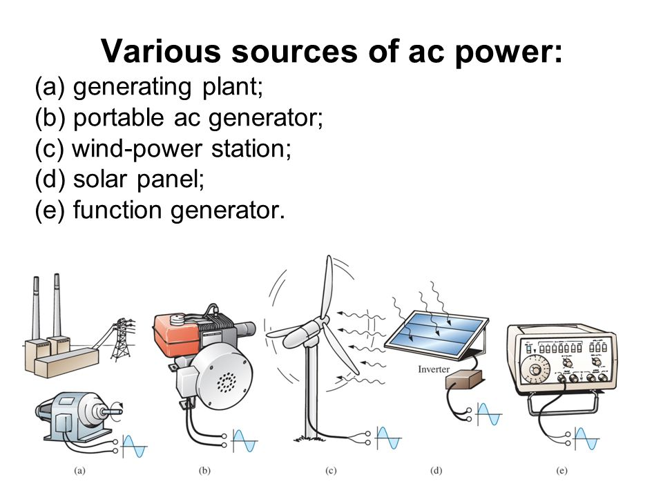 Various sources of ac power: (a) generating plant; (b) portable ac generator; (c) wind-power station; (d) solar panel; (e) function generator.