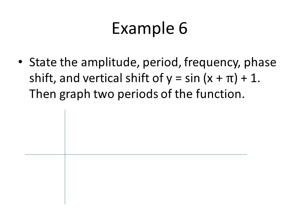 Example 6 State the amplitude, period, frequency, phase shift, and vertical shift of y = sin (x + π) + 1.