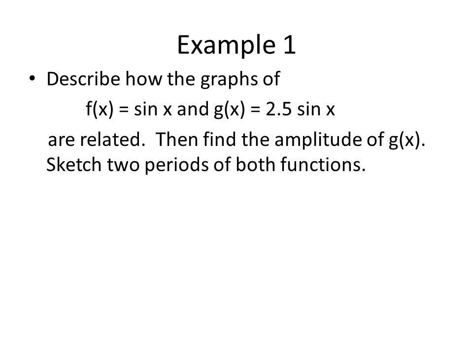 Example 1 Describe how the graphs of f(x) = sin x and g(x) = 2.5 sin x