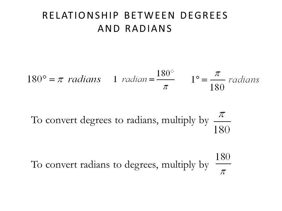 Relationship between Degrees and Radians