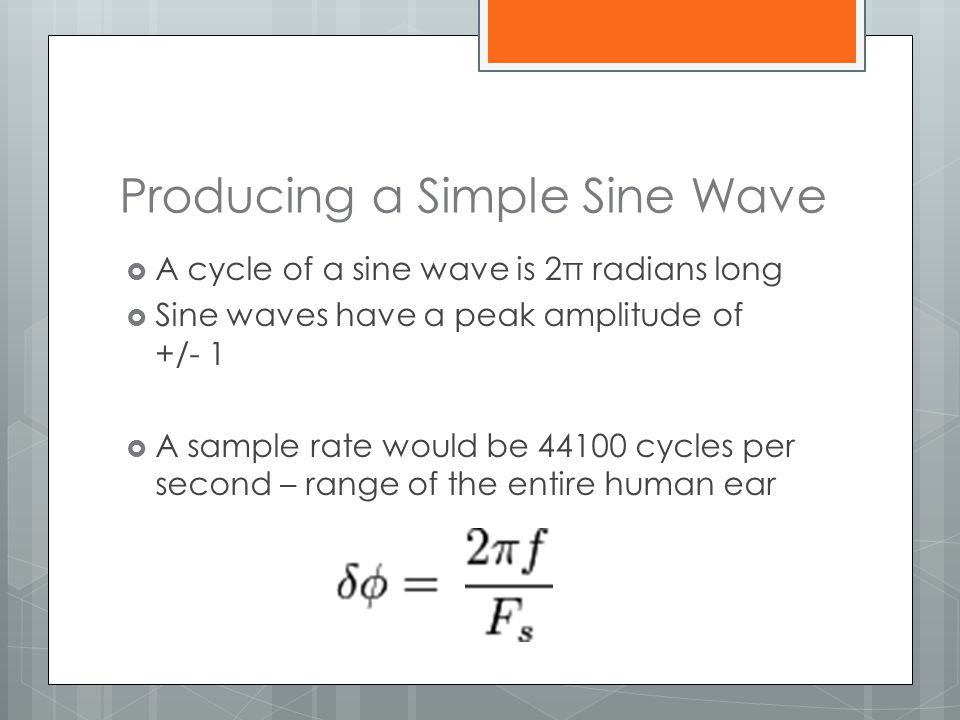 Producing a Simple Sine Wave