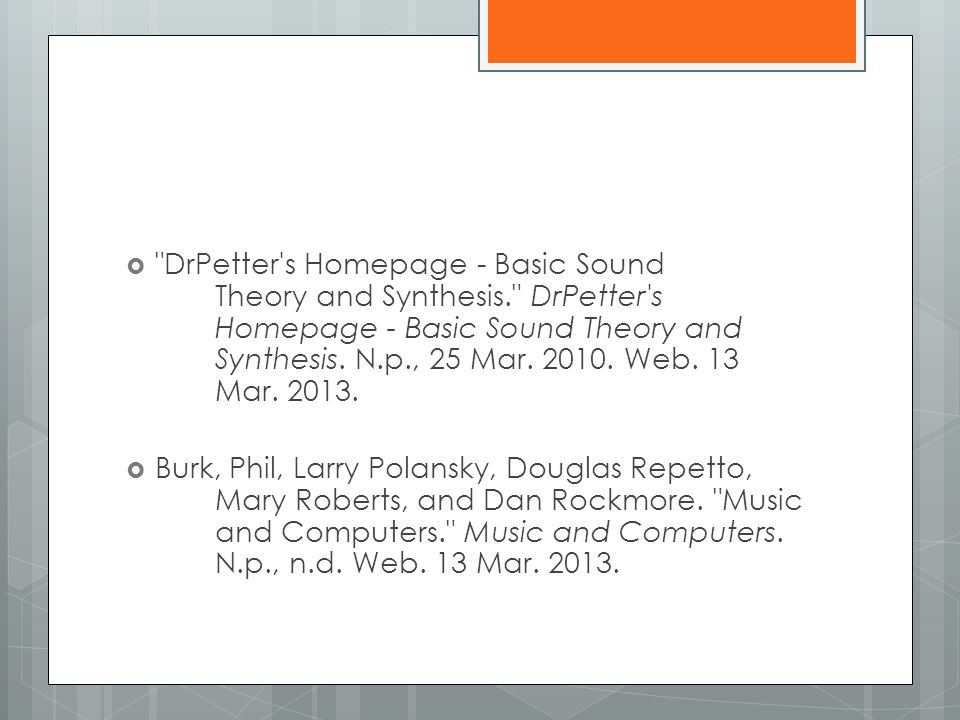 DrPetter s Homepage - Basic Sound. Theory and Synthesis. DrPetter s