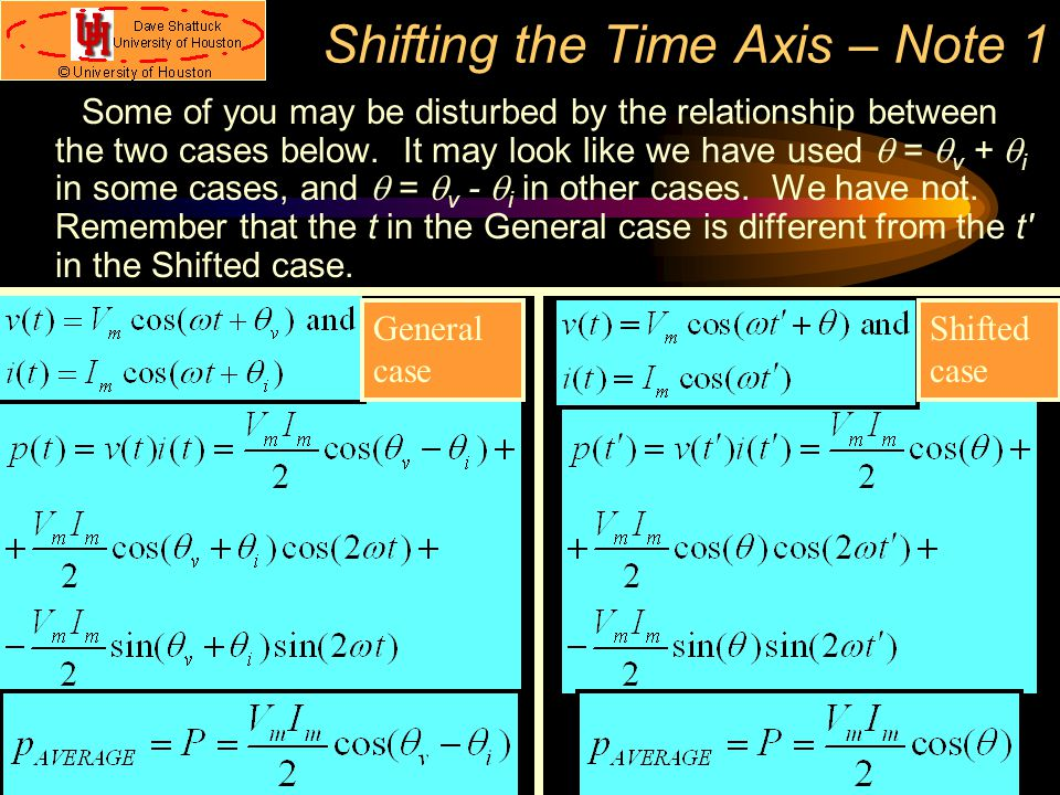 Shifting the Time Axis – Note 1