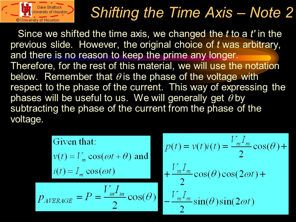 Shifting the Time Axis – Note 2
