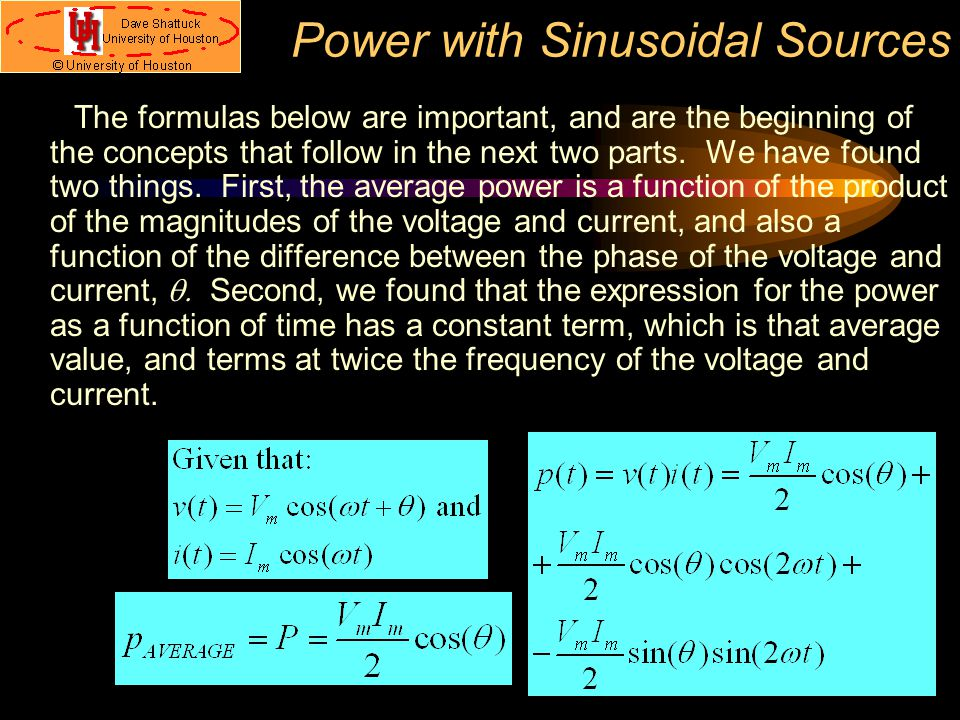 Power with Sinusoidal Sources