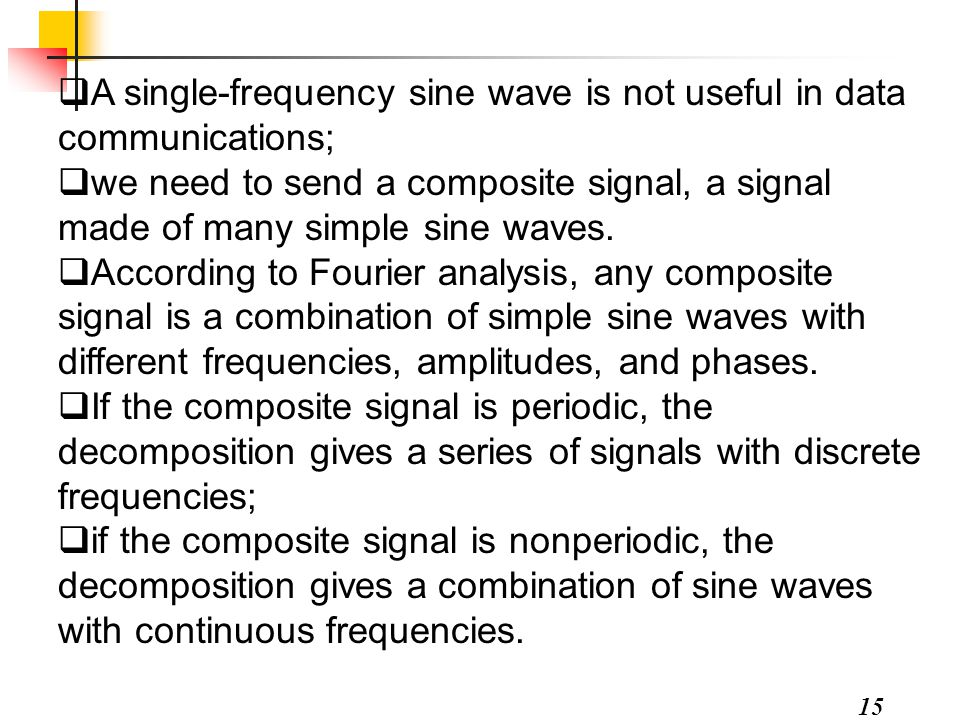 A single-frequency sine wave is not useful in data communications;