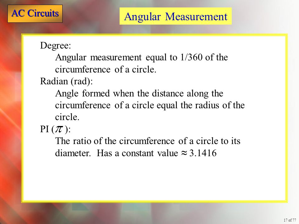 Angular Measurement Degree:
