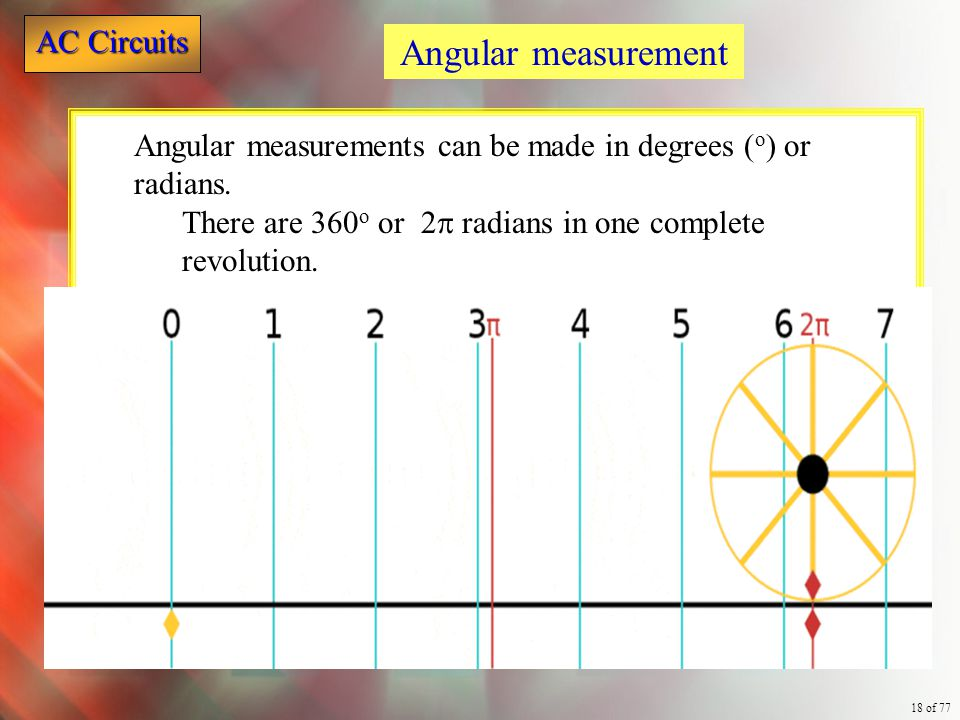 Angular measurement Angular measurements can be made in degrees (o) or radians.