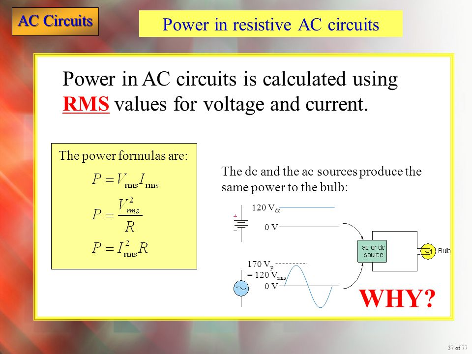Power in resistive AC circuits