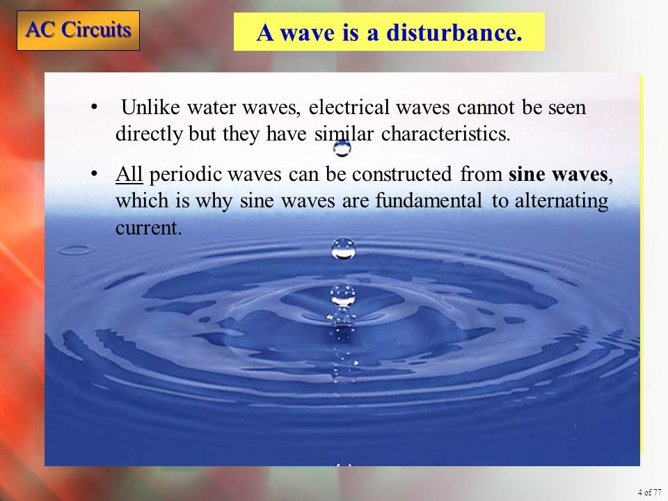 A wave is a disturbance. Unlike water waves, electrical waves cannot be seen directly but they have similar characteristics.