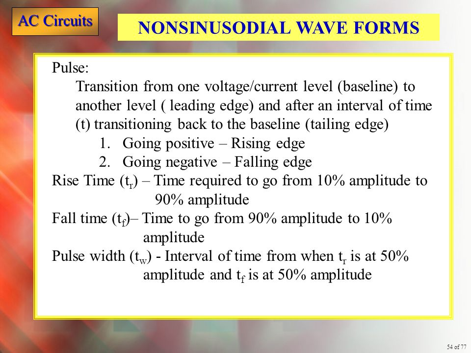 NONSINUSODIAL WAVE FORMS