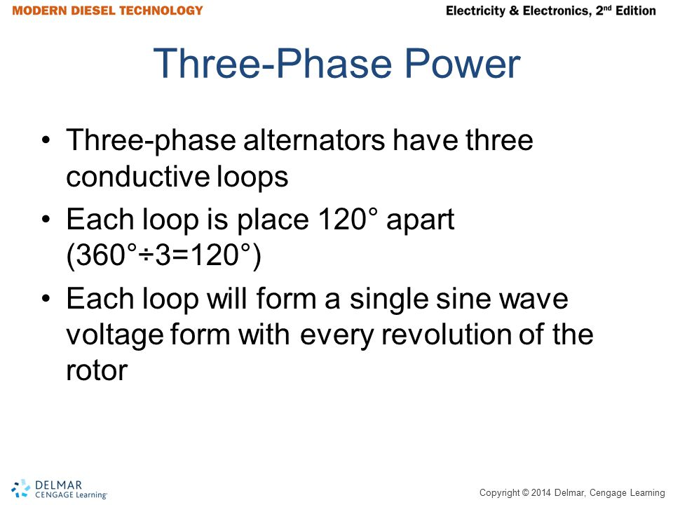 Three-Phase Power Three-phase alternators have three conductive loops