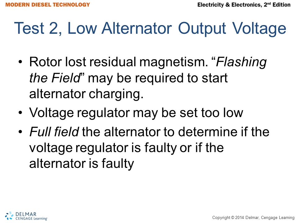 Test 2, Low Alternator Output Voltage