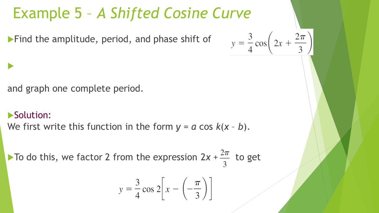 Example 5 – A Shifted Cosine Curve