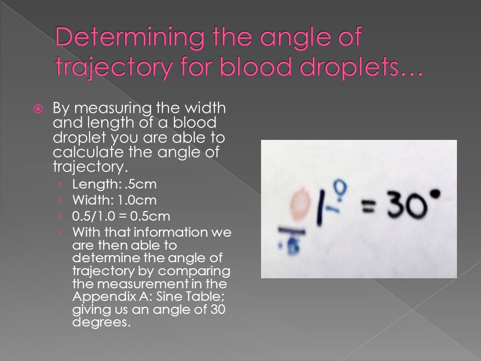 Determining the angle of trajectory for blood droplets…