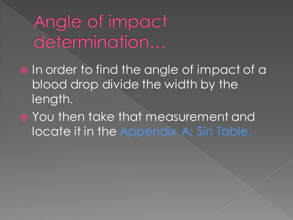 Angle of impact determination…