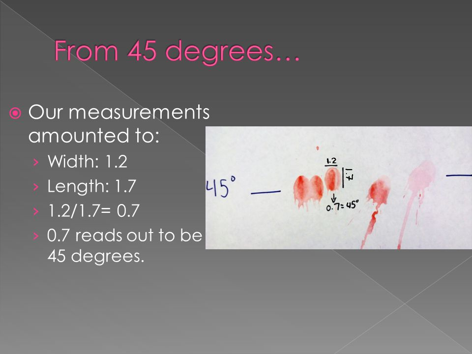 From 45 degrees… Our measurements amounted to: Width: 1.2 Length: 1.7