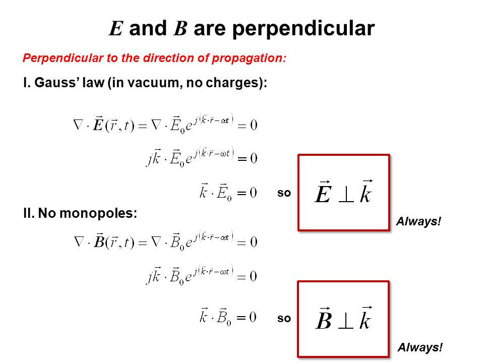E and B are perpendicular