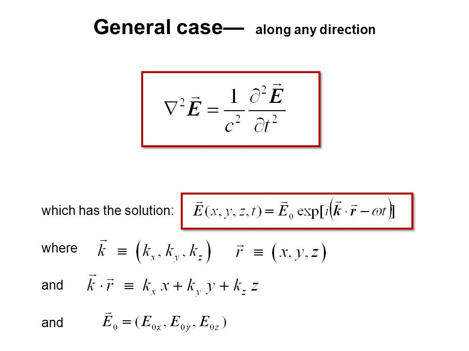 General case— along any direction