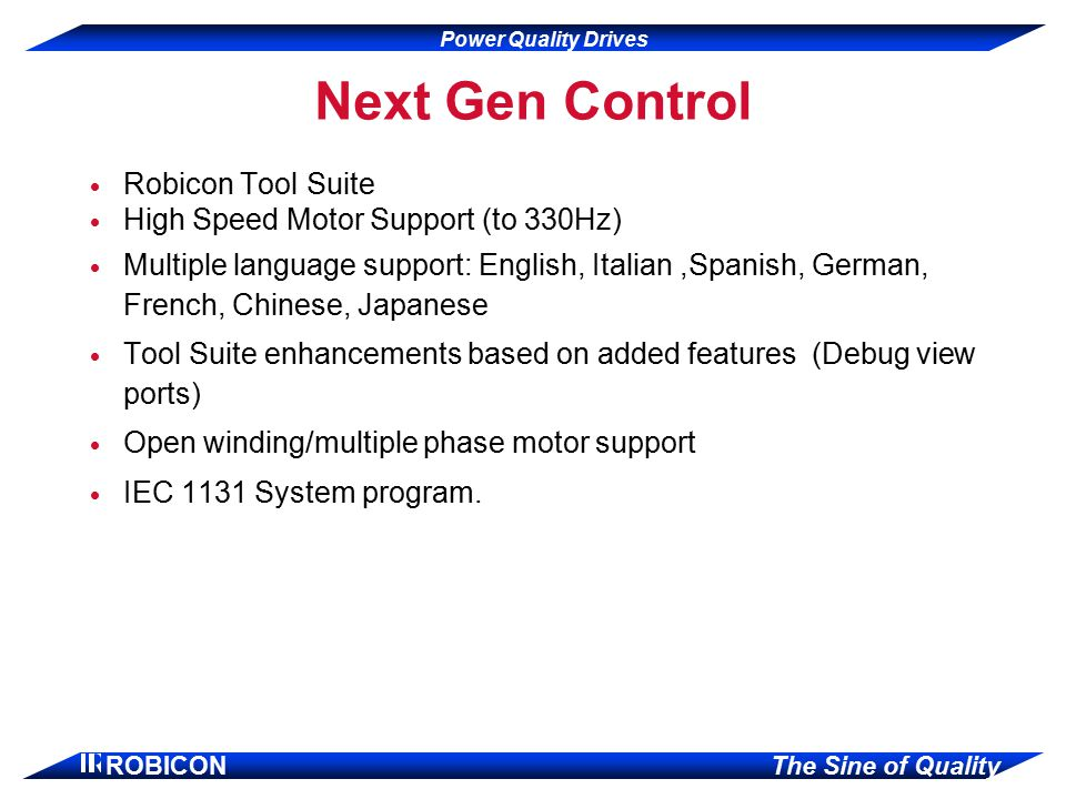 Next Gen Control Robicon Tool Suite