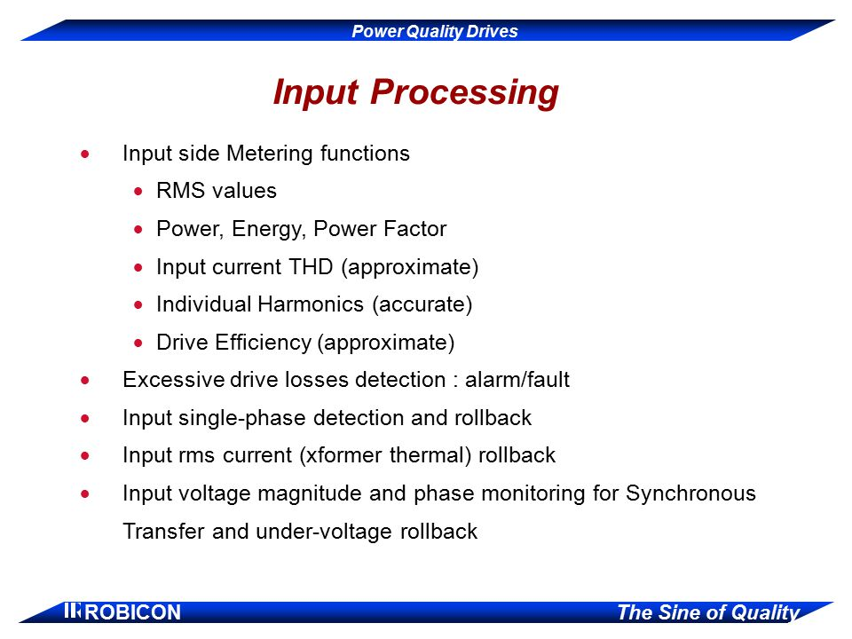 Input Processing Input side Metering functions RMS values