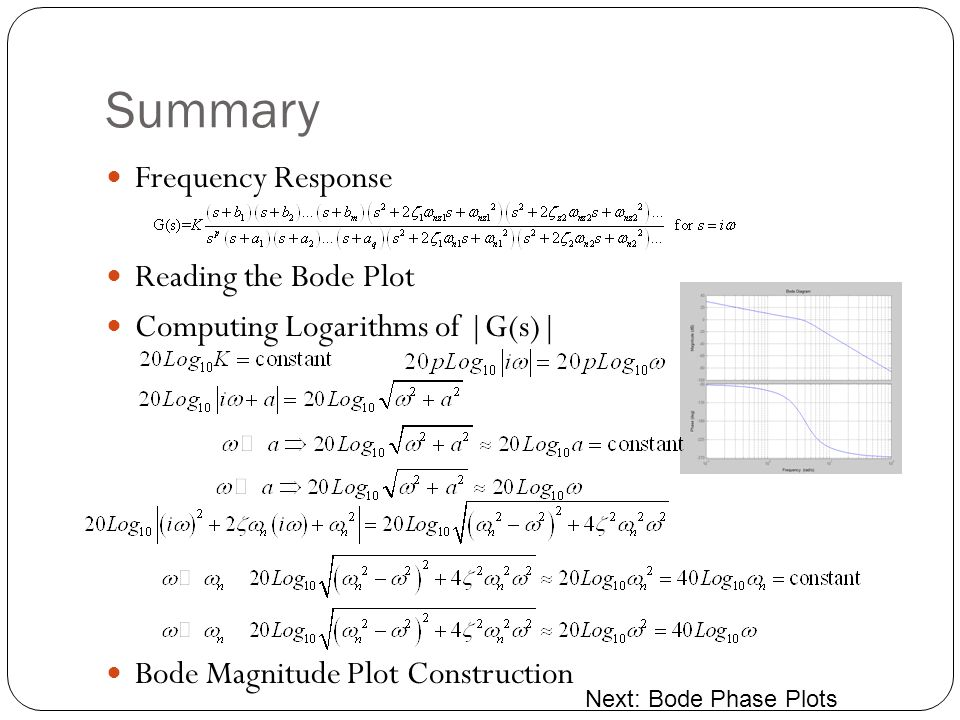 Summary Frequency Response Reading the Bode Plot