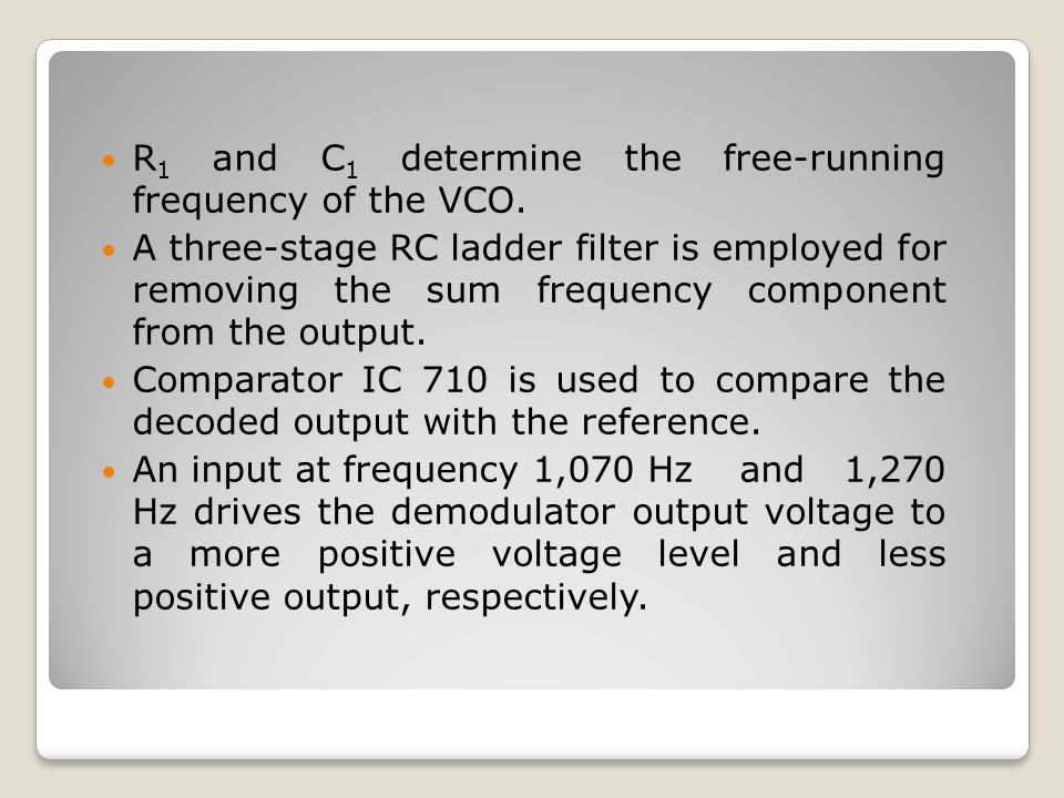 R1 and C1 determine the free-running frequency of the VCO.