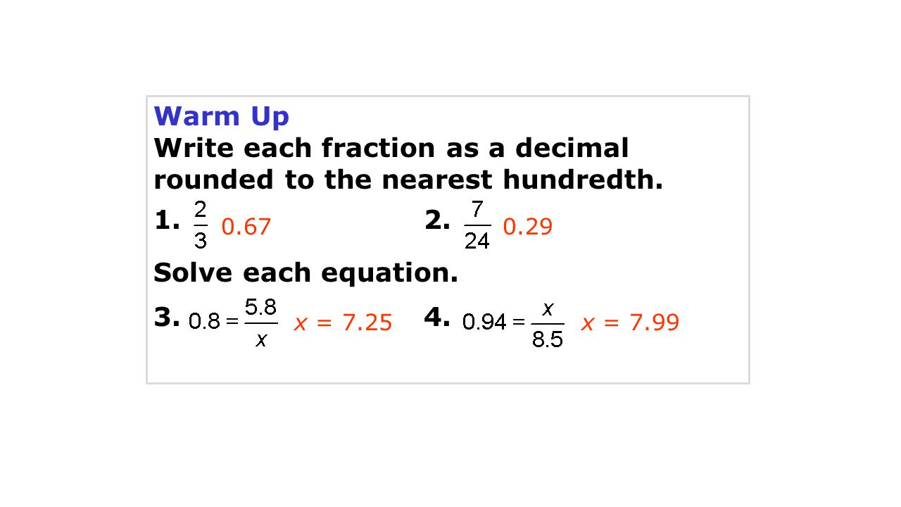 Write each fraction as a decimal rounded to the nearest hundredth.