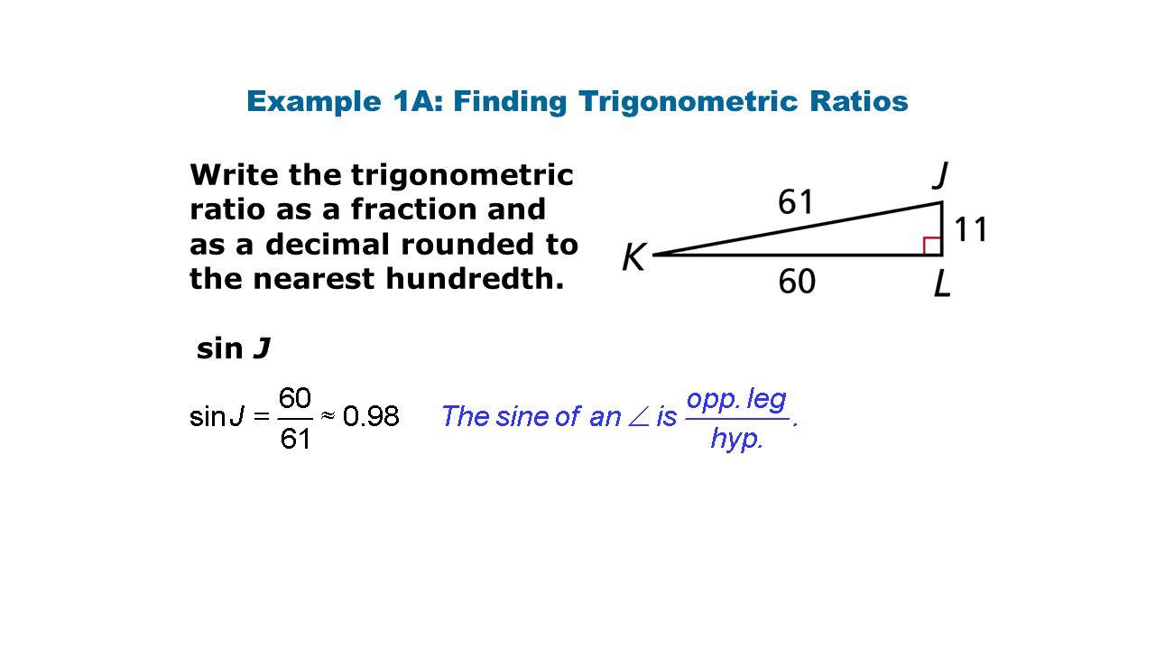 Example 1A: Finding Trigonometric Ratios