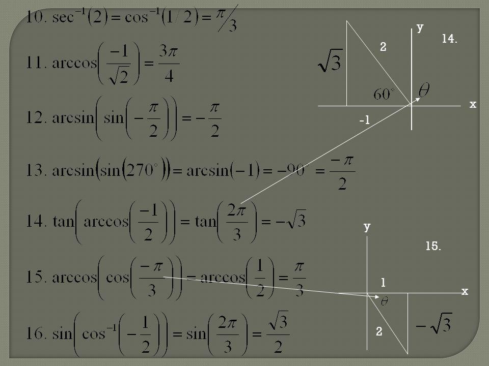 y x -1 2 14. x 1 2 y 15.