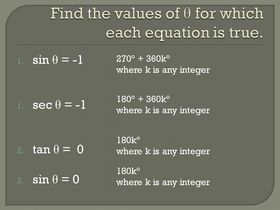 Find the values of θ for which each equation is true.