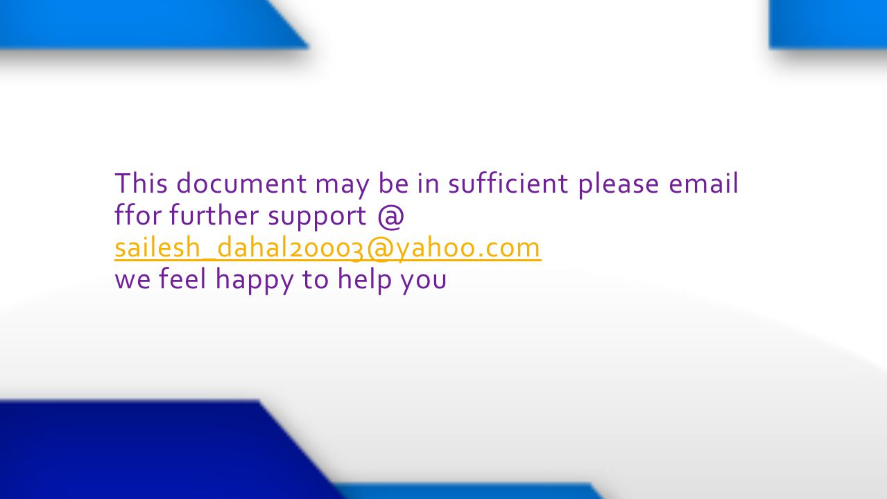 This document may be in sufficient please email ffor further support @ sailesh_dahal20003@yahoo.com we feel happy to help you